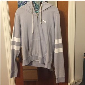 Light Purple and White Zip-Up Sweatshirt- M